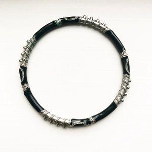 Silver & black enamel serpentine bangle bracelet